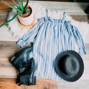 Striped cold shoulder mini dress